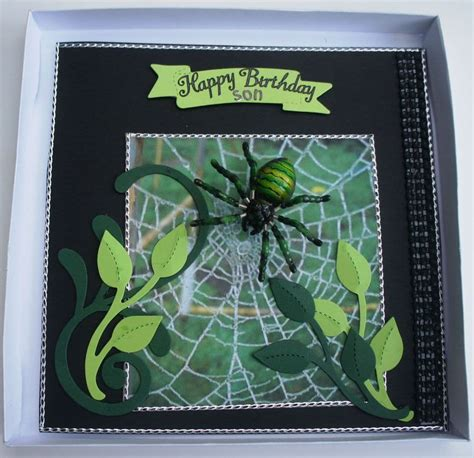 handmade personalised spider birthday card boxed