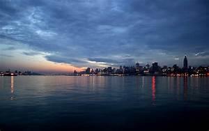 Wallpaper night, city, sky, clouds, sea desktop wallpaper ...