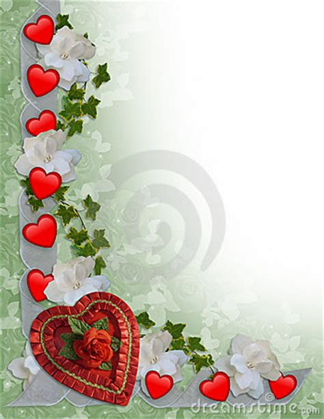 valentines day border hearts  ribbons stock images