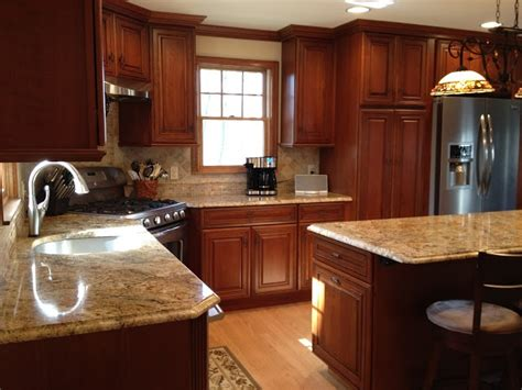 Schrock Cabinets Kitchen Island by Schrock Whiskey Black On Cherry Cabinets Kitchen Designs