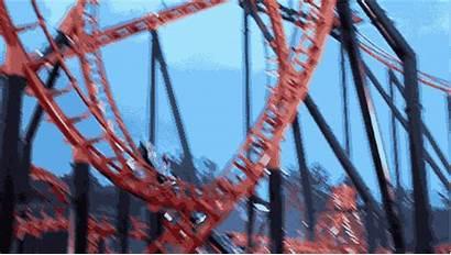 Roller Coaster Park Amusement Loop Gifs Flags