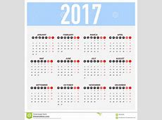 Calendar For 2017 On White Background Week Starts Monday