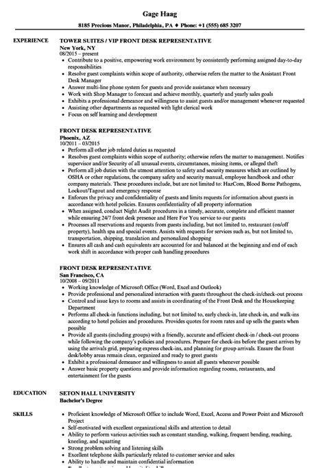 Front Desk Representative Resume Samples   Velvet Jobs