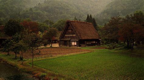 japan mountains grass fields japanese farm
