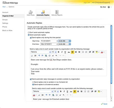 Office 365 Portal Timeout by Setting Up Out Of Office Messages On Outlook Web Access