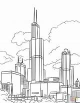 Tower Coloring Willis Pages Printable Sears Drawing Monuments London Illinois Landmarks Lena Categories sketch template