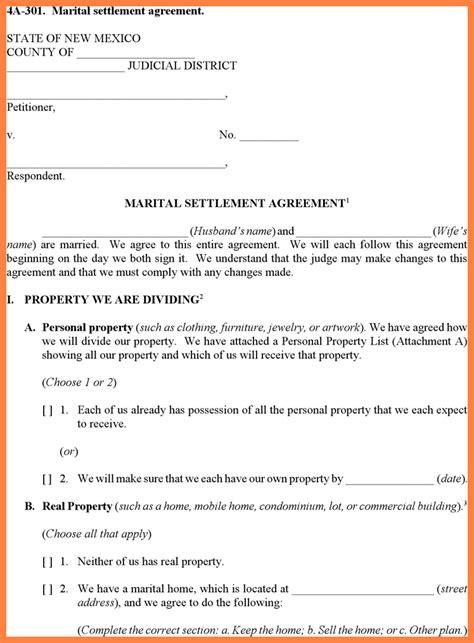 divorce settlement agreement template marital