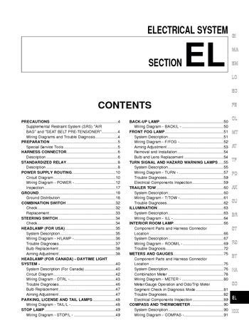 Nissan Xterra Electrical System Section Pdf