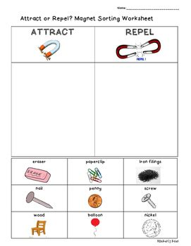 Magnetsattract Or Repel? Sorting Worksheet By 4 Little Baers Tpt