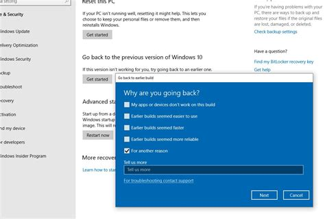 how to roll back windows 10 version 1903 may 2019 update