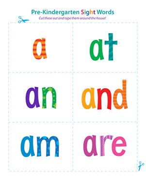 site words for preschoolers flashcards pre kindergarten sight words a to are worksheet 633