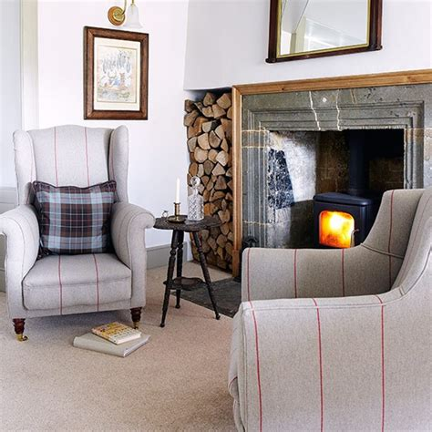 classic fireside chairs country living room ideas 30