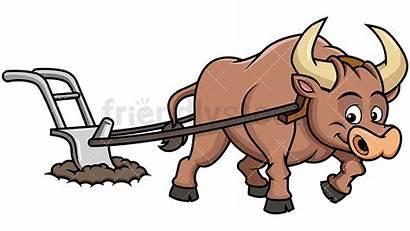 Ox Clipart Field Plow Cartoon Plowing Happy