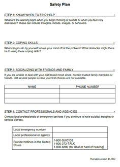 mental health safety plan template treatment plan forms mental health printable smart goals search msw