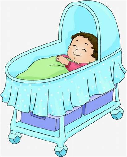 Crib Sleeping Clipart Cartoon Bassinet Bed Kartun