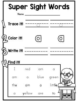 dolch pre primer sight word practice worksheets for
