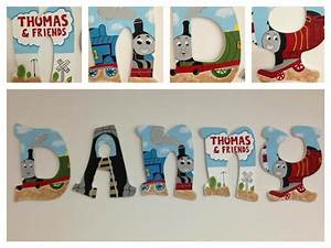 thomas the train inspired wooden hand painted letters With thomas the train letters