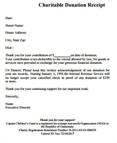 charitable donation receipt  examples  word