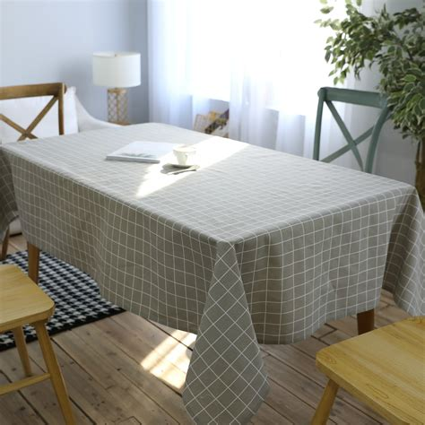 gray plaid print linen table cloth multifunctional rectangle table cover tablecloth home kitchen