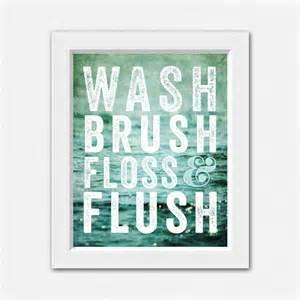 teal bathroom decor wash brush floss and flush by lisarussofineart