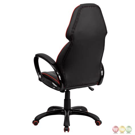 high back black vinyl executive office chair with