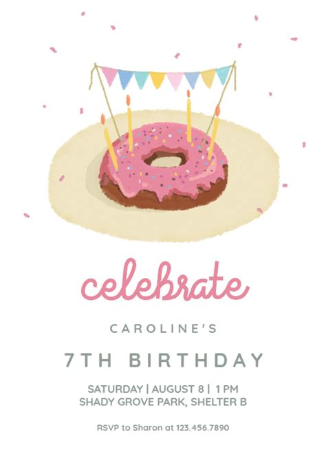 donut fiesta birthday invitation template
