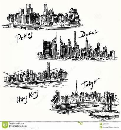 Dubai Hong Kong Tokyo Peking Illustration Hand