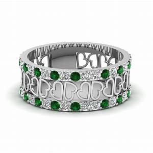 open heart diamond wide band for women emerald in 14k With emerald wedding rings for women
