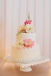 Two Tier Round Wedding Cake With Flowers Elizabeth Anne