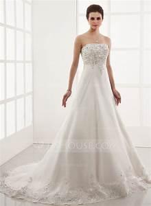 A line princess sweetheart chapel train organza wedding for Organza a line wedding dress
