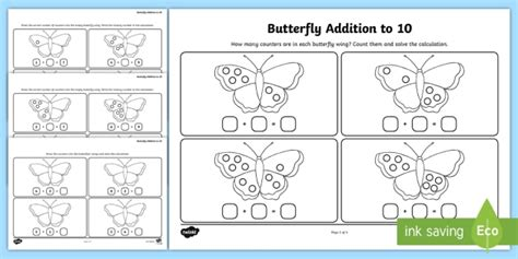 butterfly addition to 10 worksheets ks1 infants maths math mathematics