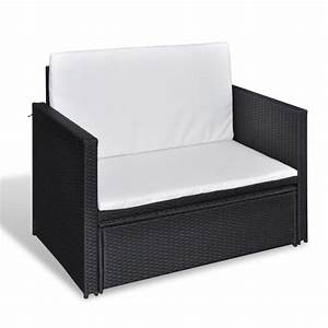 folding rattan sofa bed 3 in 1 black vidaxlcouk With 3 in 1 sofa bed