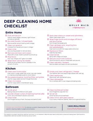 deep cleaning checklist printable deep cleaning