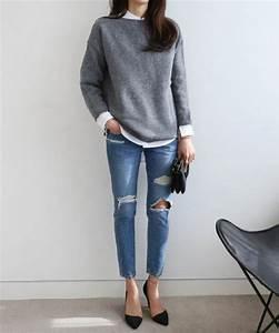 les 25 meilleures idees de la categorie pull gris sur With derniere tendance mode femme