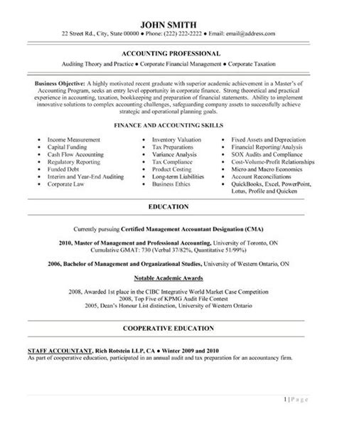 entry level accounting resume sle best accounting