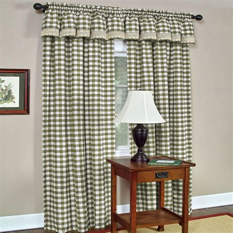 Plaid Drapery Panels by Achim Semi Opaque Buffalo Check Poly Cotton Window