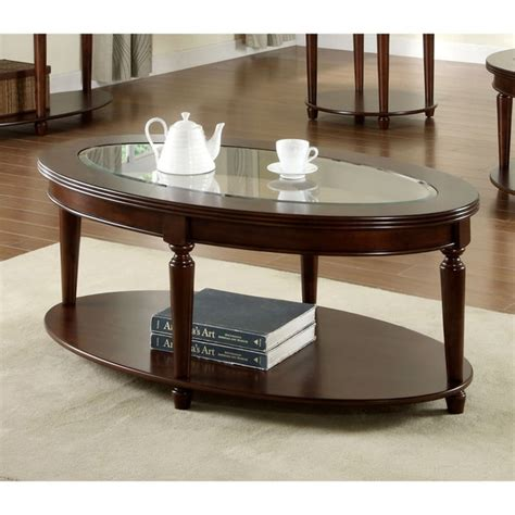 Glass top a good coffee table inspires creativity, comfort, and enjoyment in the space around it. Furniture of America Crescent Dark Cherry Glass Top Oval Coffee Table - 16427969 - Overstock.com ...