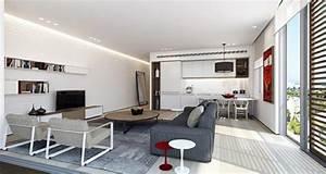 piece de vie moderne dans un petit appartement de ville With salon et cuisine dans la meme piece