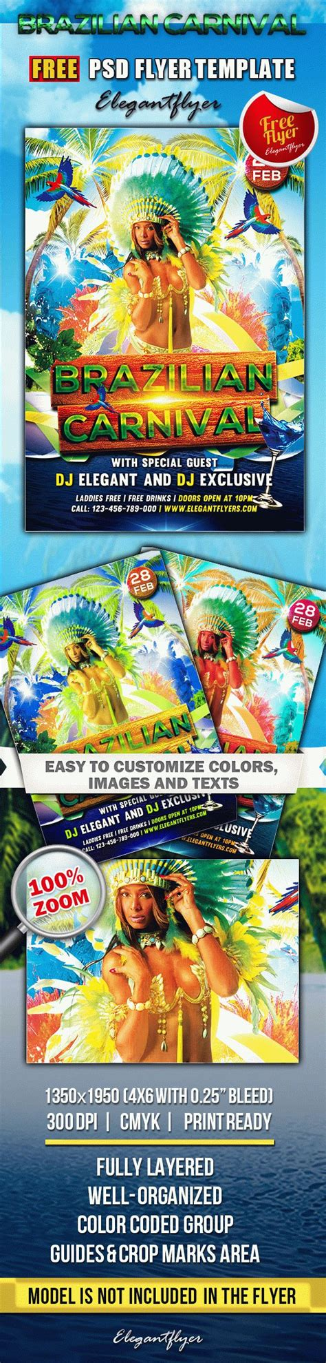 Brazilian Carnival Flyer Template by Brazilian Carnival Club And Party Free Flyer Psd
