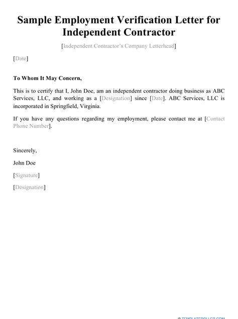Sample Employment Verification Letter for Independent Contractor Download Printable PDF