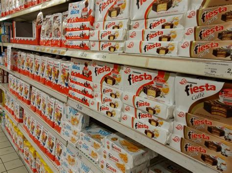 kinder  ferrero  supermarket editorial image image