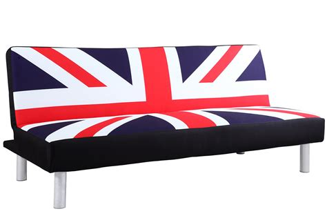 Sofa Bed With Retro Union Jack British Flag Print Fabric