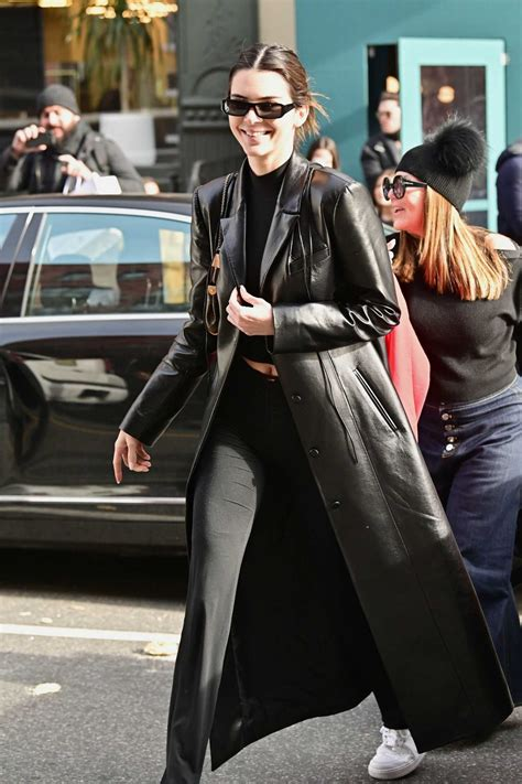 kendall jenner   black leather coat leaves sadelles