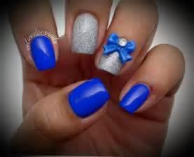 Royal Blue Glitter Silver Nail Art Beautiful Short Nail Designs Blue Nail Designs To Beauty Your Nails
