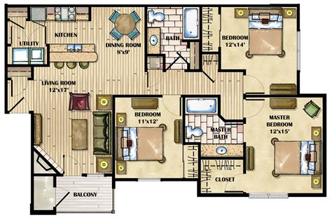 3 Bedroom Apartment Floor Plans by Apartment Floor Plans Designs Idea Small Room Decorating