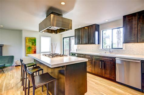 Calm Asian-Style Kitchen Features Island Seating