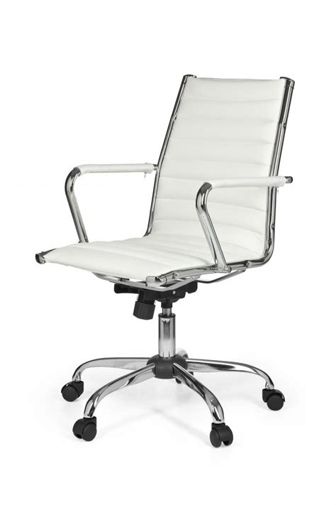 white office swivel chair faux leather computer work desk