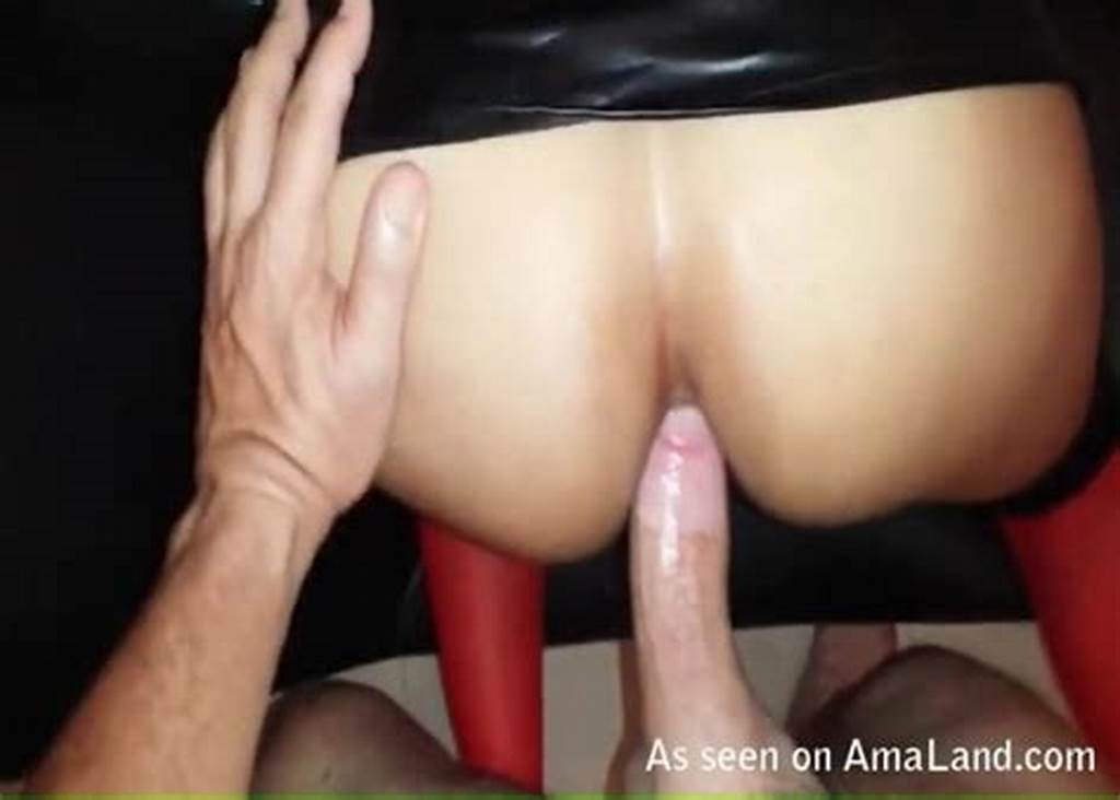 #Bent #Over #Babe #In #Leather #Skirt #Ass #Fucked
