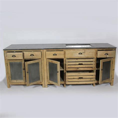 cuisine evier porcelaine en pin recycle meubles palette