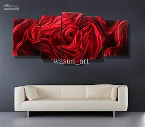 Red rose modern contemporary abstract painting metal